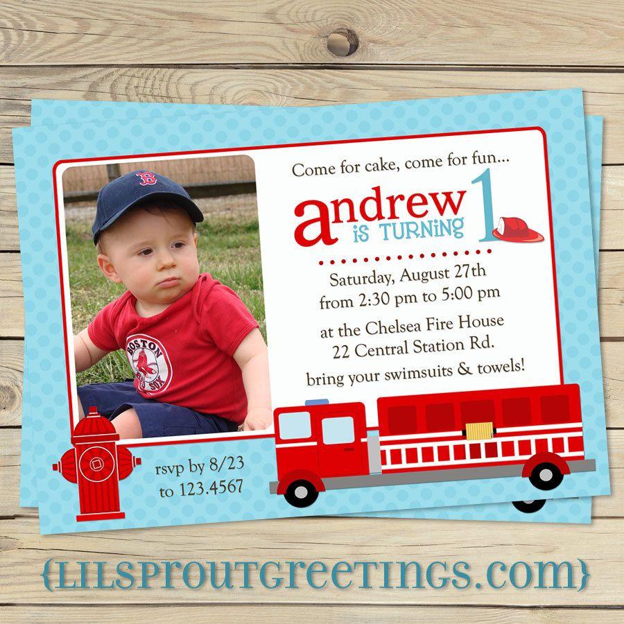 Fire Engine/Truck Photo Birthday Invitation (You Print). $17.00, via ...