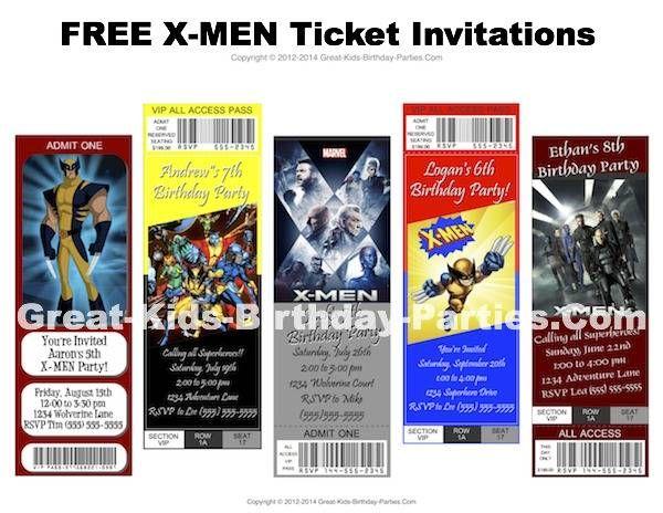 X-MEN Party Invitations X-Men Party Ideas Pinterest Men party - ticket invitation template