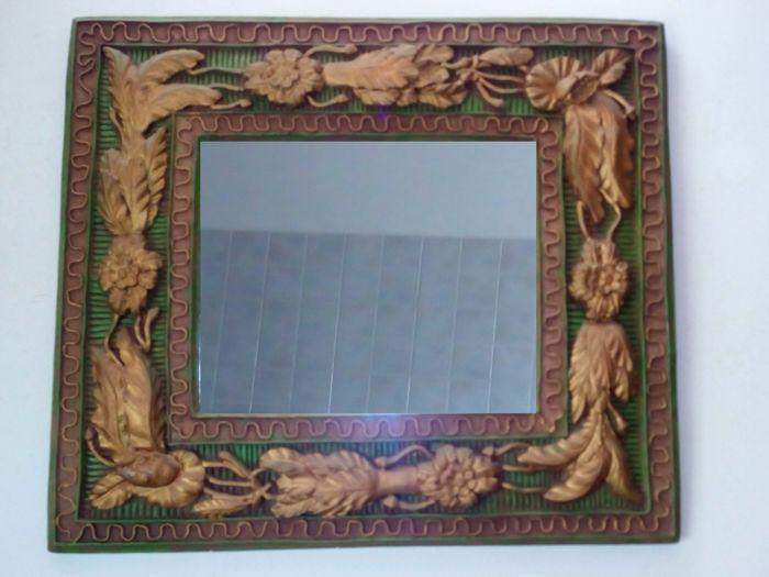 Vintage Spiegel Goud : Groen en goud gips spiegel van de e eeuw italië rechthoekige