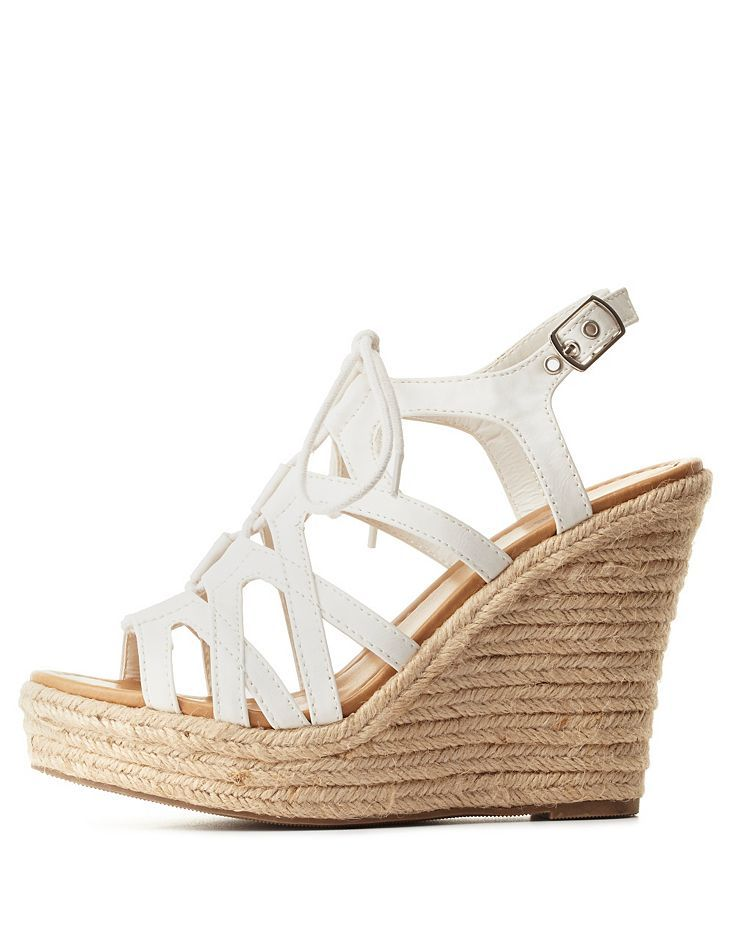 fd37d0862c9 Strappy Lace-Up Wedge Sandals by Charlotte Russe - White