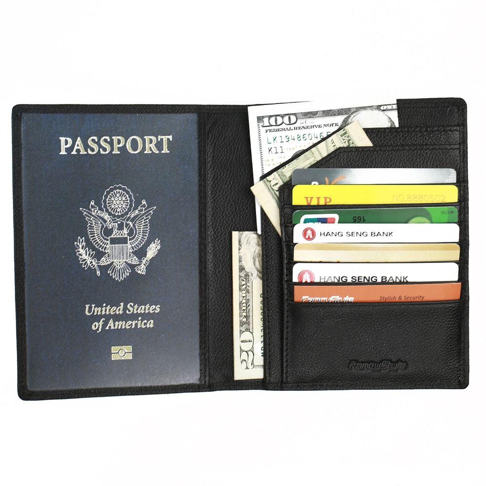Fancystyle RFID Blocking Wallet, Genuine Leather Passport Holder Wallet Cover Case Black #Affiliate