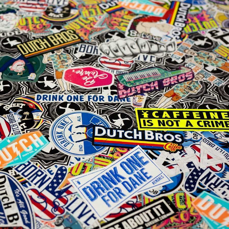 "Introducing Dutch Bros Sticker of the Month."" Stop by any Dutch Bros location on the 1st of each month and receive a limited edition sticker with the purchase of any item. Start your collection this Friday, June 1st. #dutchbros"