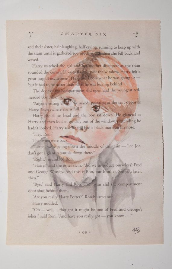 ORIGINAL Watercolor Harry Potter Book Page