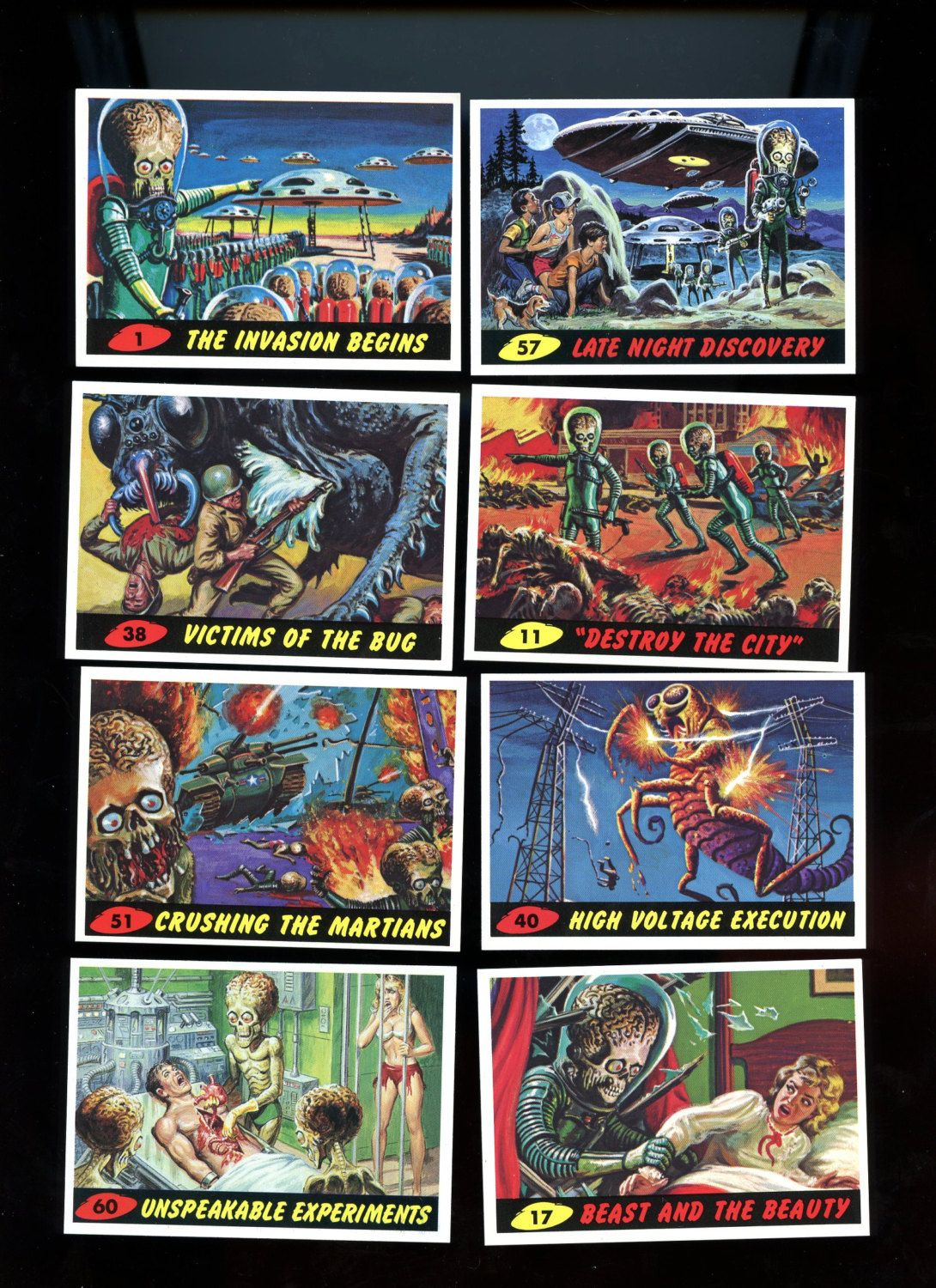 Mars attacks topps 1994 vintage card lot of 8 cards