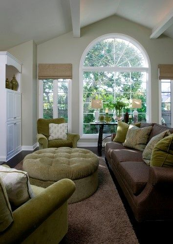 Light Grey Walls Chocolate Brown Sofa Sage Green Accent Color And Large Windows Brown Living Room Living Room Green Tan Living Room