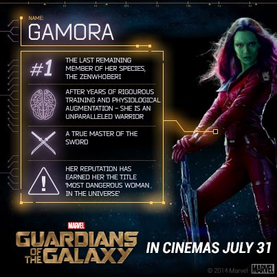 """She's tough. She's fierce. She's out for redemption. Get to know Gamora in Marvel's """"Guardians of the Galaxy"""" when it opens July 31 in cinemas across the Philippines."""
