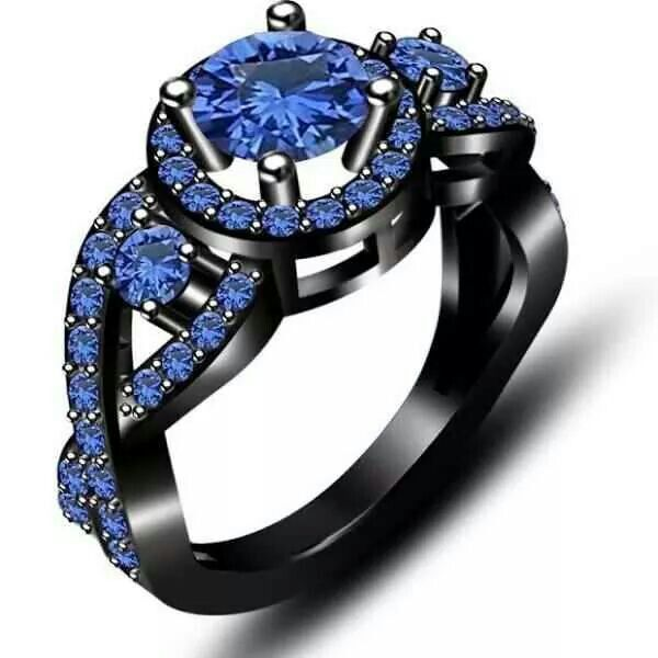 Black ring with blue diamonds