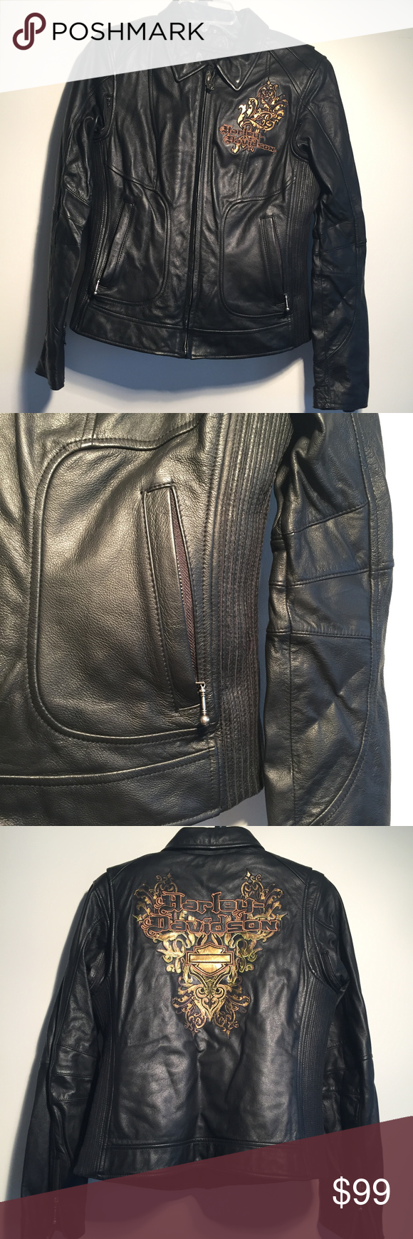 Harley Davidson Black leather embroidered jacket in 2020