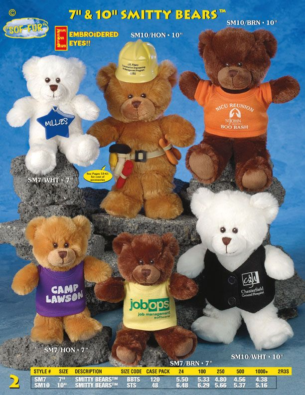 6a3d86a55b54 Minimum Order 100 Pieces for personalization. Order Today, Call  718-554-6353 7 and 10 inch tall Smitty Bears Stuffed Plush bears are Ideal  items for ...