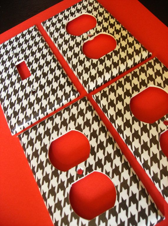 Black and White Houndstooth Single Light Switch Plate 4 piece set. $13.00, via Etsy    great for jons man cave when we have one!!. #garagemancaves
