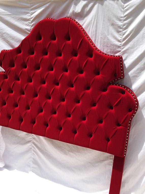 Queen Size Upholstered Headboard Red Velvet By NewAgainUph On Etsy