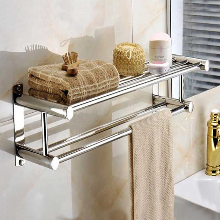 Stainless Steel Double Layer Towel Rail Wall Mounted Bathroom Storage Shelf Rack Clothes Holder Wall Mounted Bathroom Storage Towel Rail Towel Rack