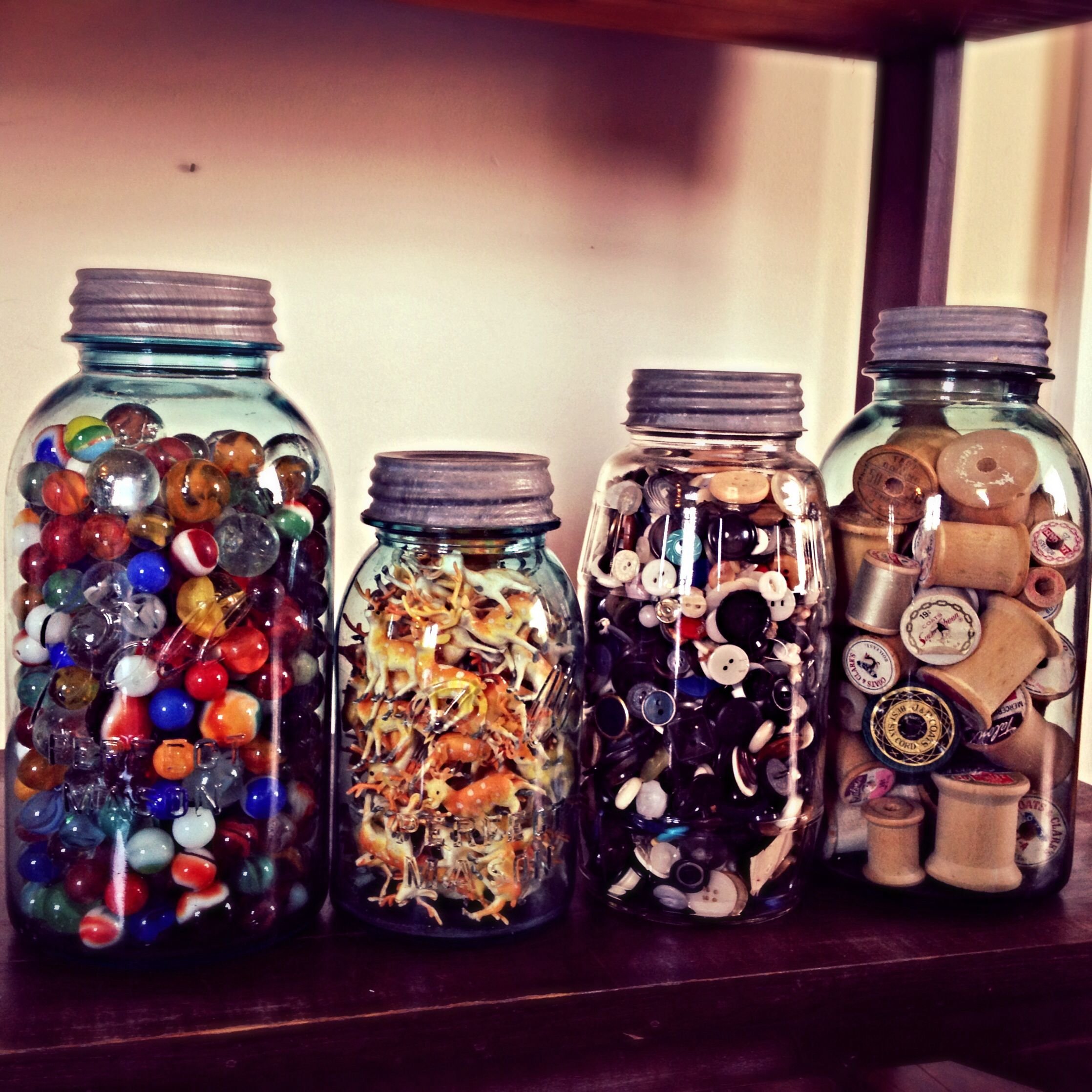 <3 vintage blue ball jars.