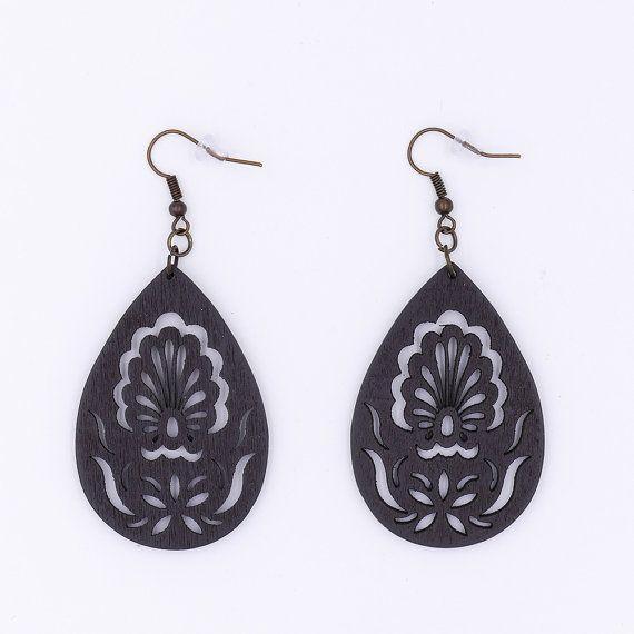 Black Coffee Wood Peacock Filigree Earrings by MoonRoseDesign