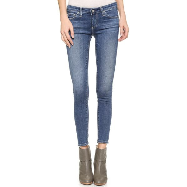 AG Legging Ankle Jeans ($210) ❤ liked on Polyvore featuring jeans, faded jeans, faded blue jeans, short pants, ag adriano goldschmied and ankle length jeans