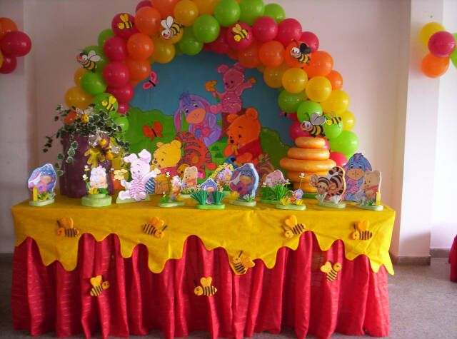 Winnie Pooh Party Table Party Ideas Pinterest Birthdays Babies And Birthday Party Ideas