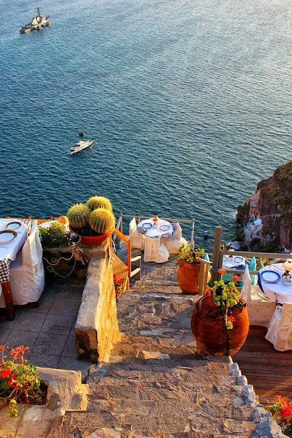 Caldera View Dining in Fira, Santorini, Greece