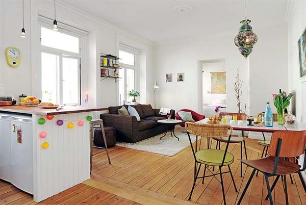 Colourful Linnéstaden Apartment 16 Cosy One Bedroom Apartment With New Open Plan Lounge Kitchen Dining Room Ideas Decorating Design