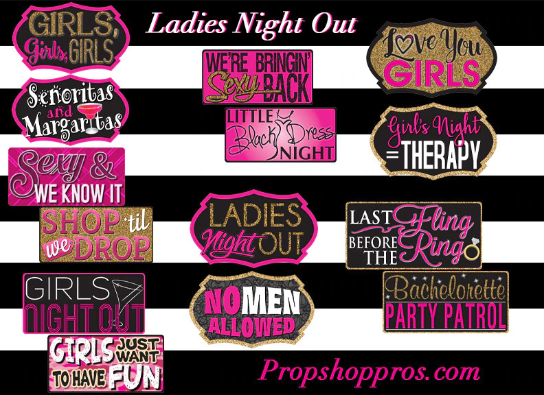 Ladies Night Out Bachelorette Photo Booth Props Prop Signs Bachelorette Photo Booth Ladies Night Photo Booth Props