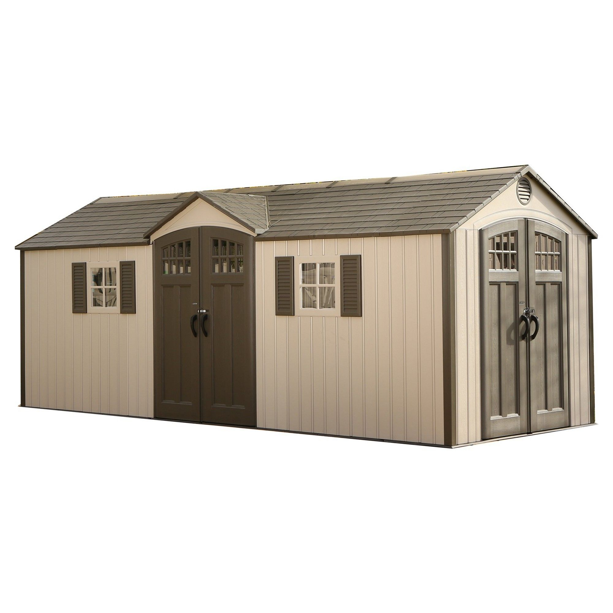 Outdoor Storage Shed 20 X 8 Desert Sand Lifetime Plastic Sheds