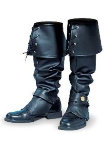 869da1eb392f MEN-BOOT-TOPS-COVERS-PIRATE-SWASHBUCKLER-COLONIAL-RENAISSANCE-BOOTS -SPATS-BLACK