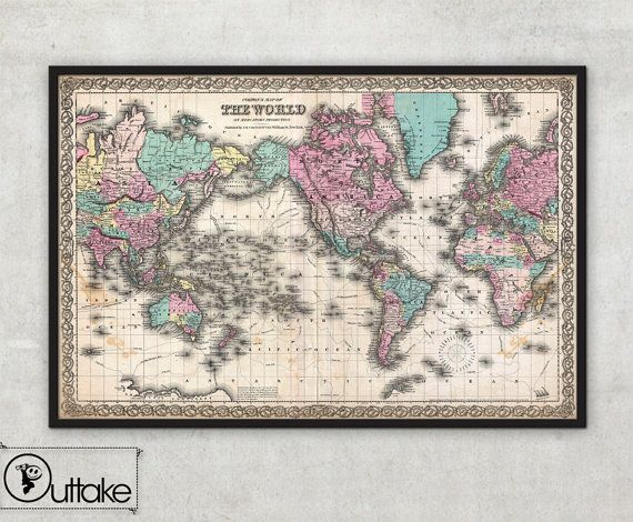 Antique world wall map old world map 1855 antique atlas antique world wall map old world map 1855 antique atlas mercator projection large archival fine art print by outtakeprints 001 gumiabroncs Gallery