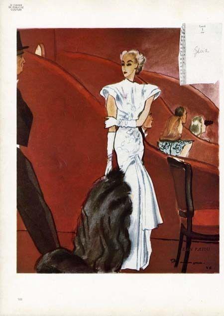 Fashion Page by JEAN PATOU - 1946 - Elegant White Gown - Illus. MOURGUE #JeanPatouFashion
