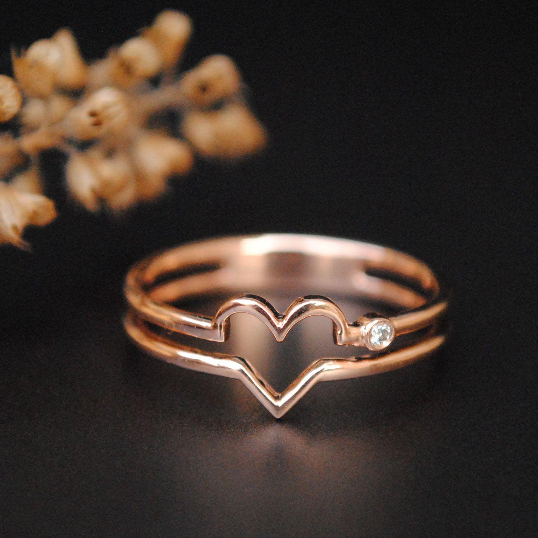 Ladies White Gold Finish Diamond Promise Love Word Heart Fashion Designer Ring