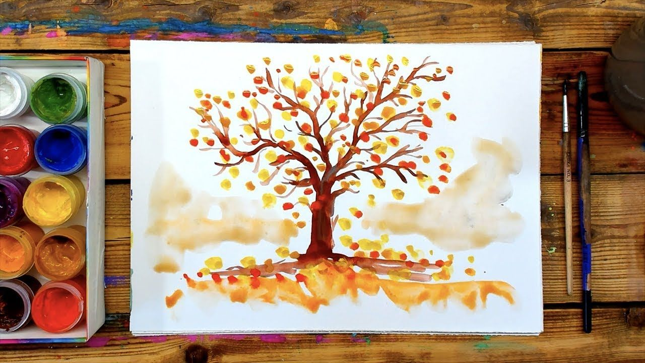 Осеннее дерево / краски ГУАШЬ для начинающих | Осенние ...