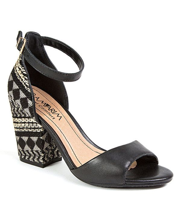 5acddf7dcc03 Love these RAMARIM Black Woven-Heel Leather Sandals on  zulily