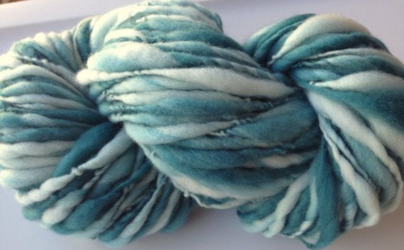 Handspun Yarn Thick and Thin WINTER FRESH by TerraBellaSpun