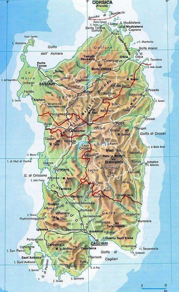 Mappa Della Sardegna Cartina Della Sardegna Travel Pinterest