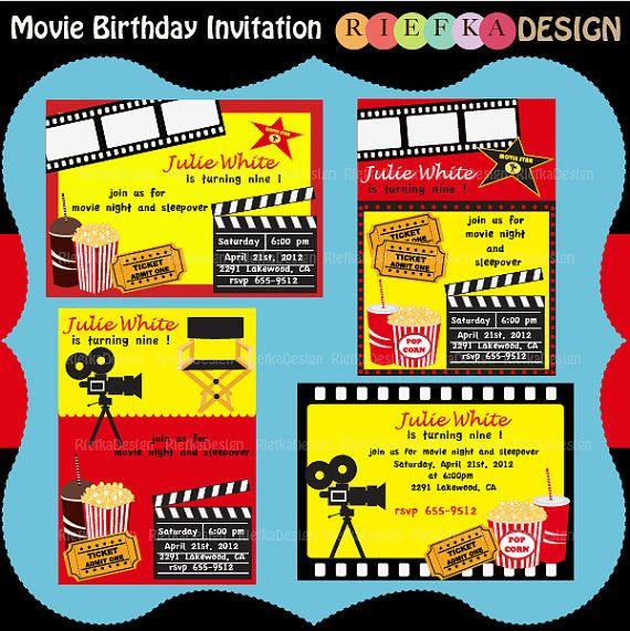Movie Birthday Invitation  Digital Invites  Blank by riefka, $6.00