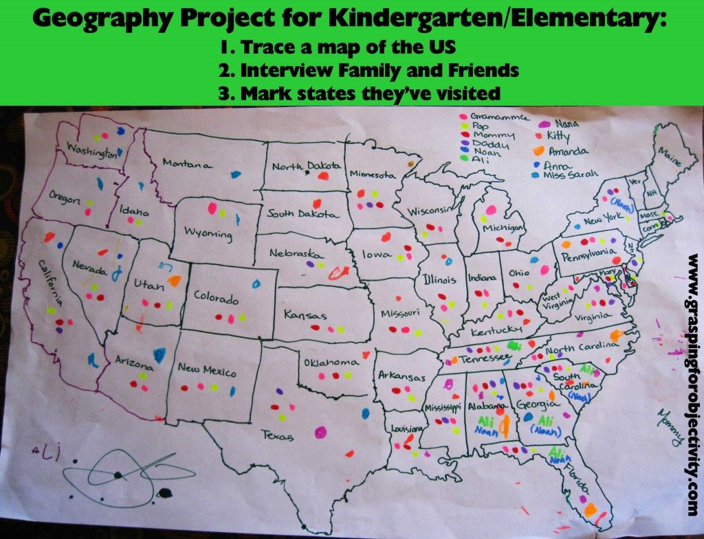 Kentucky Land Map%0A Geography Project Trace a map  interview family friends to see which  places they have been and chart on the map  You could also graph to see  which states