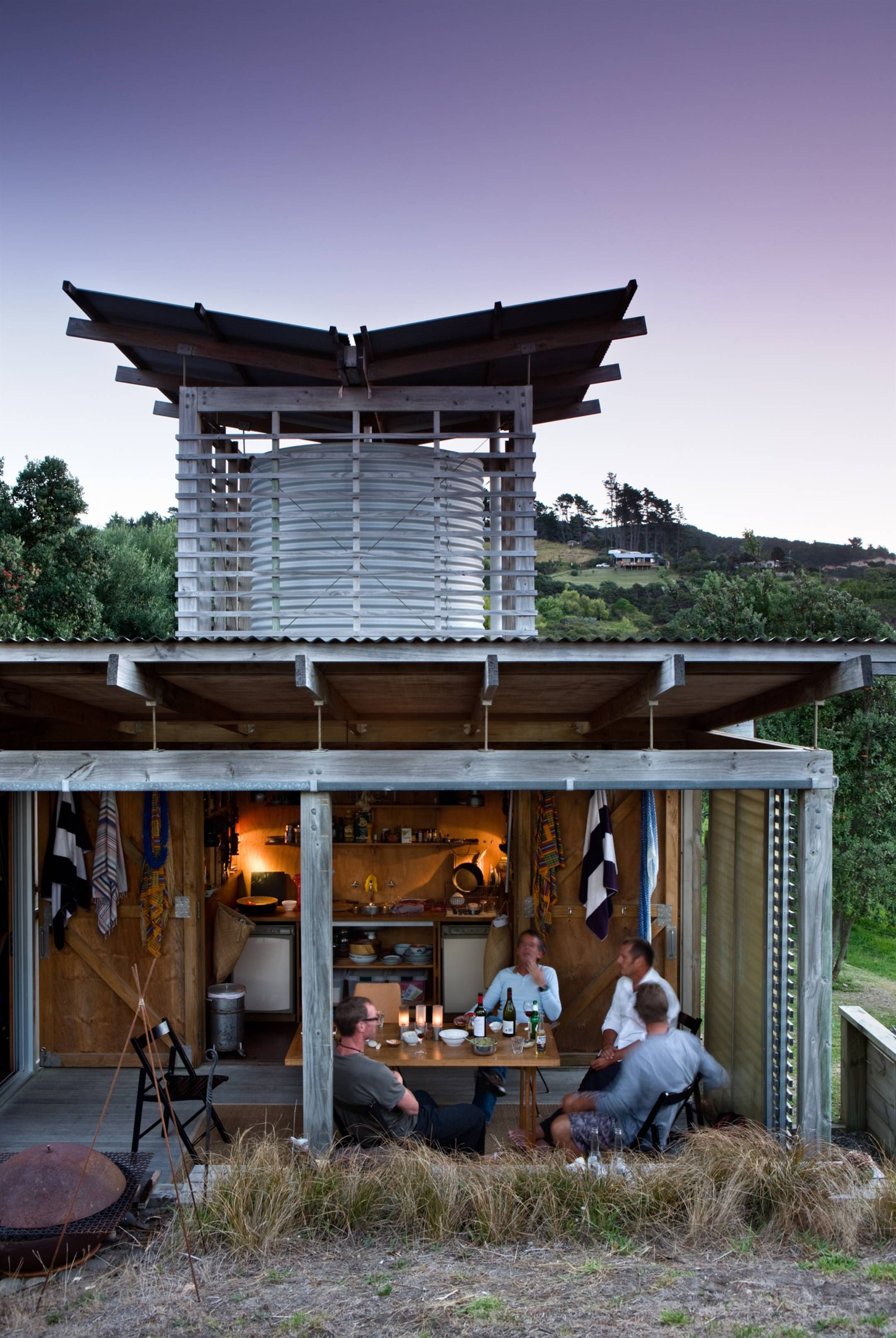 Outdoor Living Space Header Tank Tower Weathered Timber