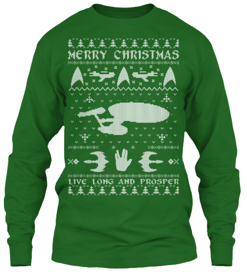 christmas sweater style printed tee for star trek fans teespring