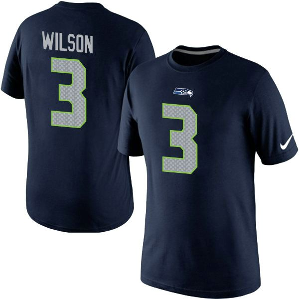 Nike Seattle Seahawks 3 Russell Wilson Pride Name   Number TShirt Blue 49 57ea121a4