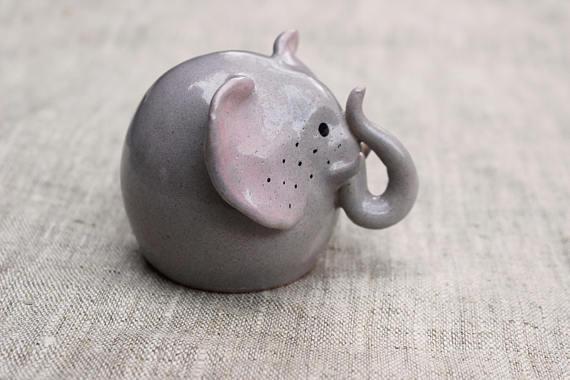 Cute Tiny Elephant Figurine Mini Elephant Collectible Elephant Figurine Gift