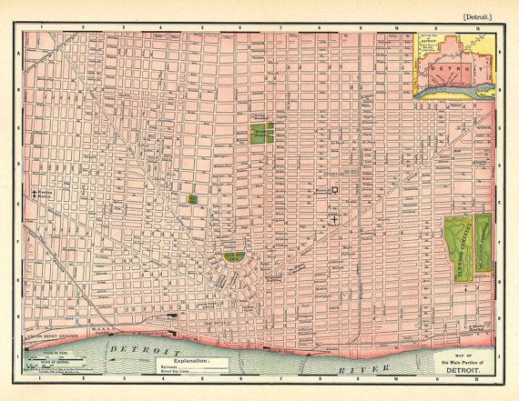 Map Of Detroit Michigan Showing The City Streets From 1895 A