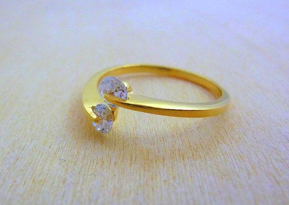 Clear crystal quartz gemstone birthstone ring delicate ring