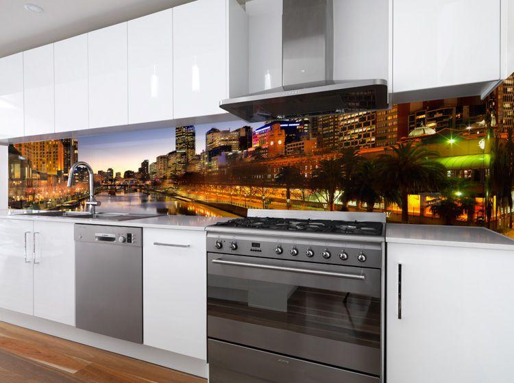High Quality VR Art Glass Printed Glass Splashback Melbourne Skyline Image By Visual  Resource