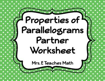Parallelograms Partner Worksheet | Worksheets