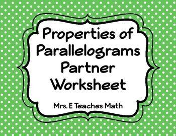 Parallelograms Partner Worksheet Geometry Pinterest Math