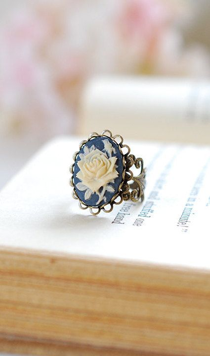 Navy Blue Ivory Rose Cameo Ring Victorian Style Antique
