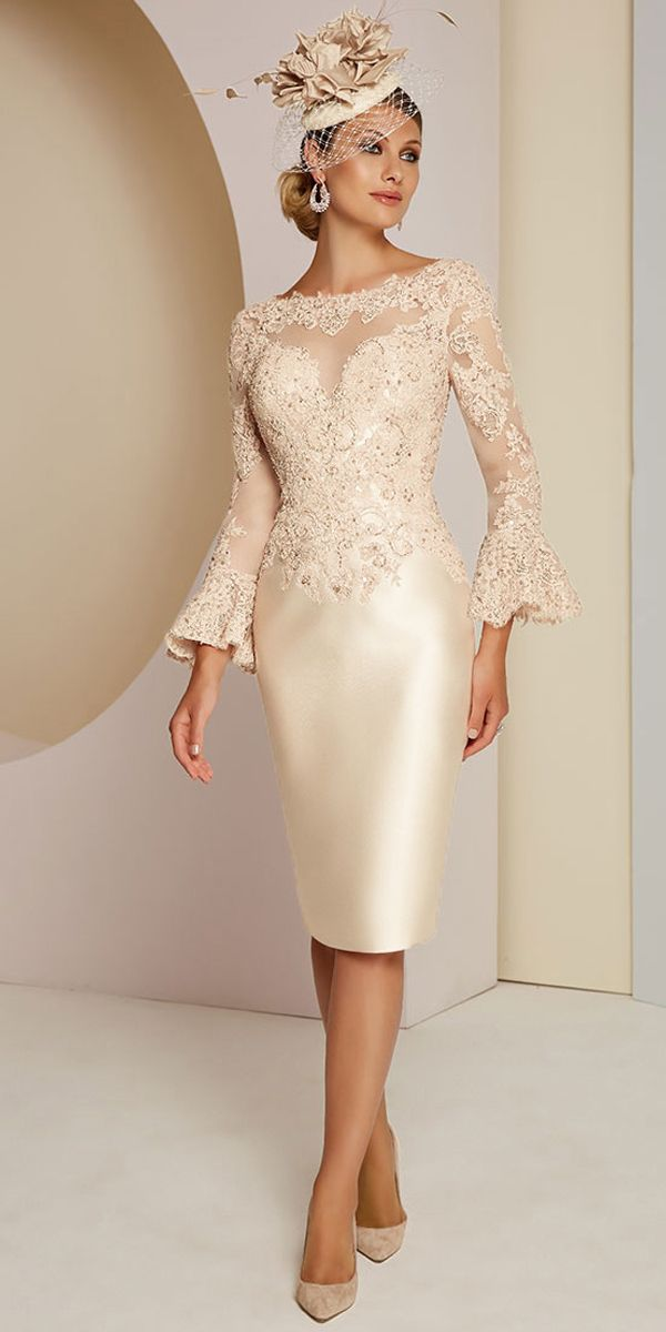 Magbridal Gorgeous Tulle & Satin Bateau Neckline Sheath/Column Mother Of The Bride Dresses With Beaded Lace Appliques