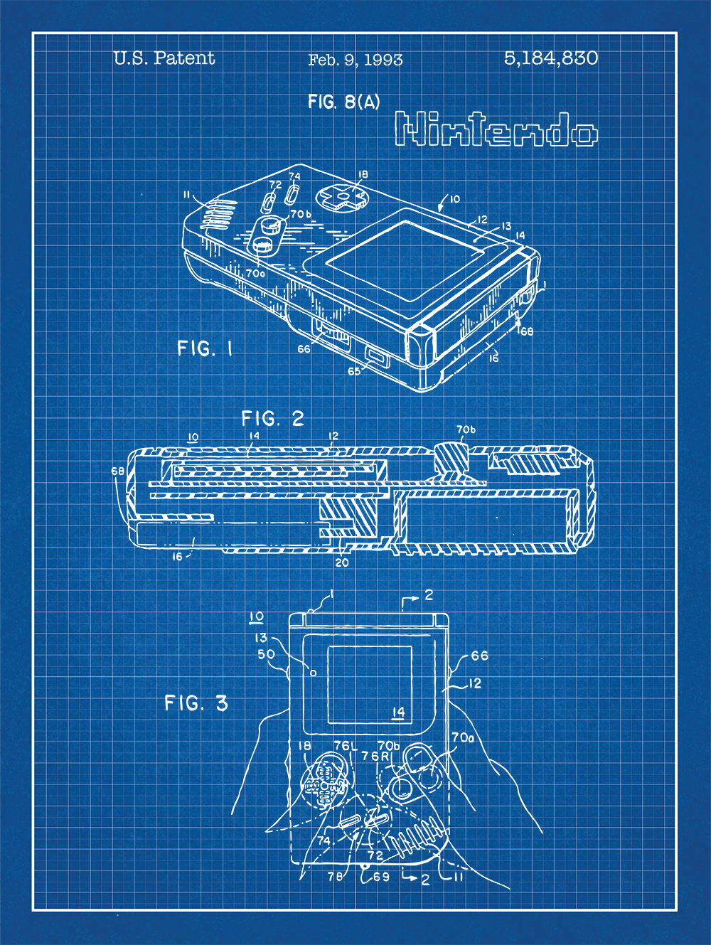 Nintendo game boy screen print handheld video game gameboy patent nintendo gameboy patent print on blue graph paper background malvernweather Images