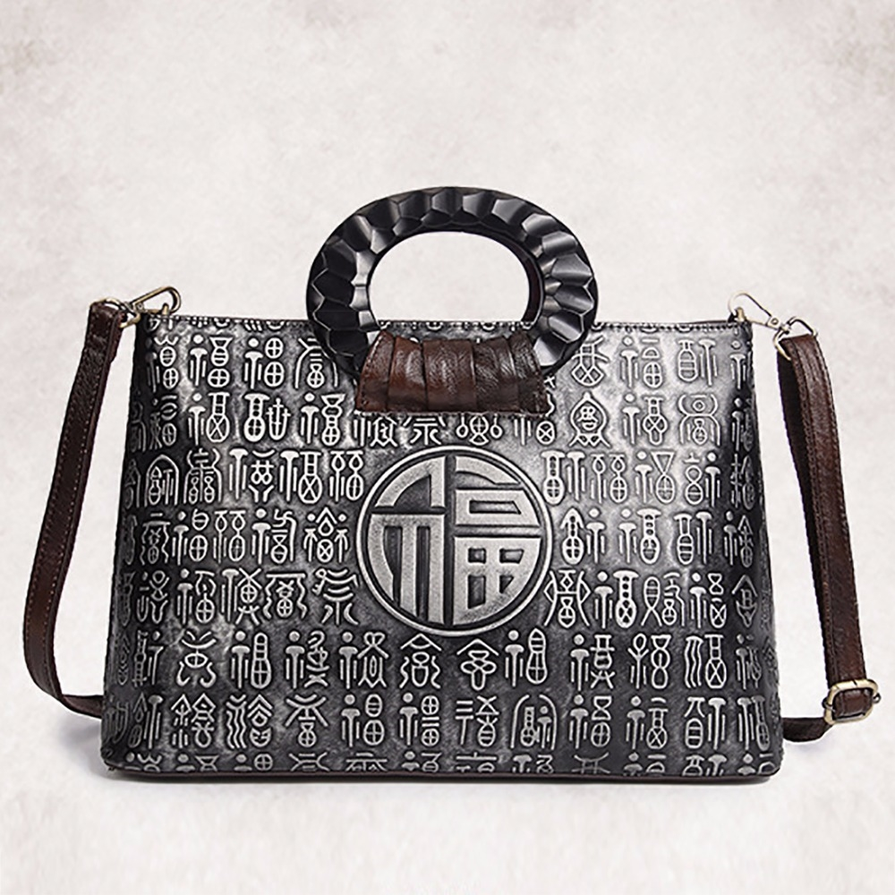 41.47$  Watch here - http://aliot6.shopchina.info/go.php?t=32789199579 - New Women Genuine Leather Cowhide Tote Handbag Chinese Style Embossed Single Shoulder Bag Female Office Crossbody Messenger Bags 41.47$ #buyininternet