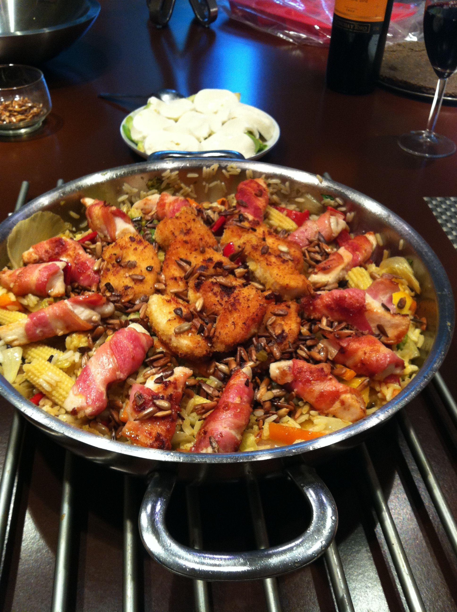 Ris med kylling og grøntsager