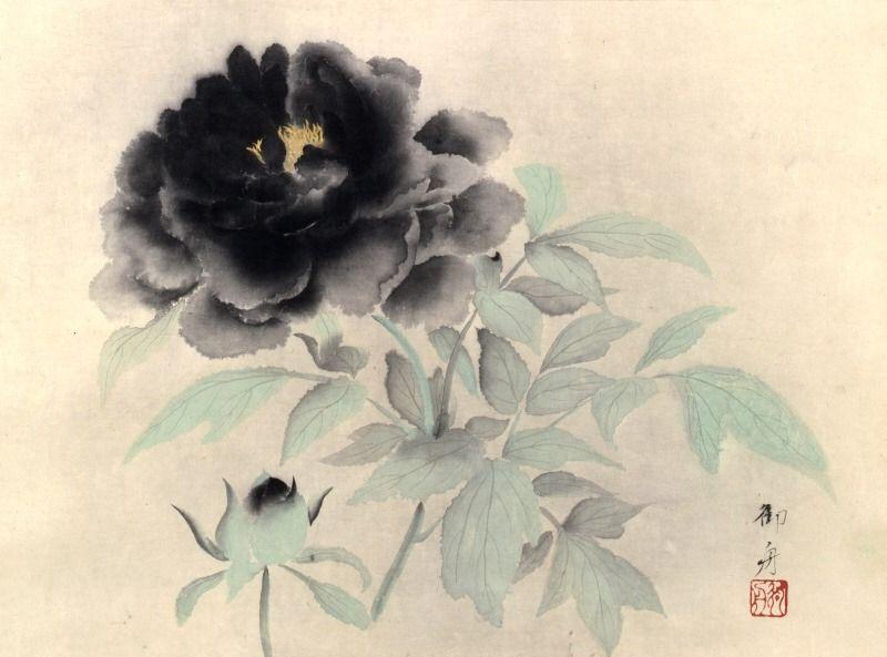 asian art 速水御舟 hayami gyoshu 1894 1935 牡丹花 墨牡丹 black アートのアイデア アジアのアート 花 描き方