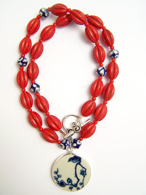 Red Beaded Necklace, Bird Pottery Shard Necklace by polishedtwo, $28.00